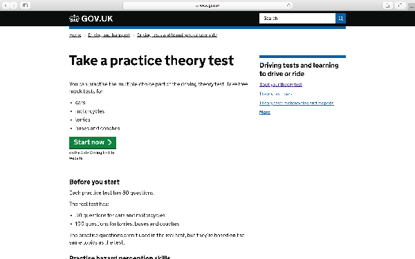 driving theory practice